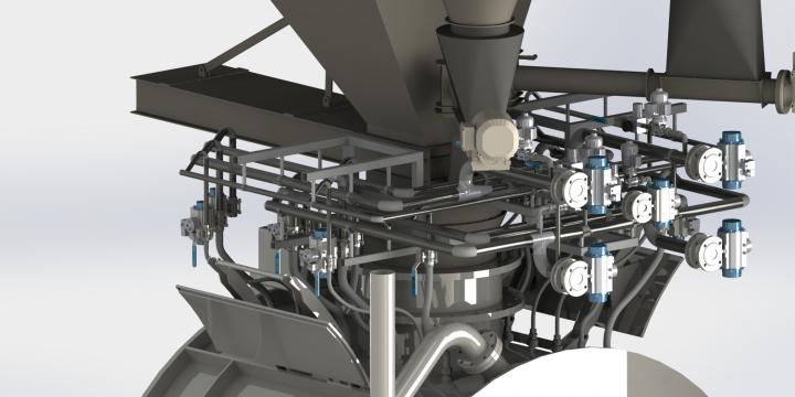 IVS Dosing Technology 3D animatie : vloeistofverdelers en coater door tekenaars gemaakt.